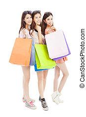 sacs, achats femme, trois, asiatique, heureux