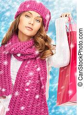 sacs, achats femme, vêtements hiver