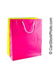 sacs, achats, isolé, arrière-plan., papier, blanc, coloré