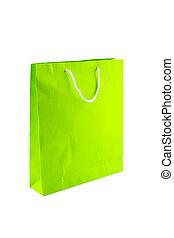 sacs, achats, isolé, arrière-plan., papier, blanc vert