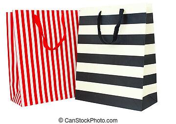 sacs, achats, isolé, papier, fond, blanc, coloré