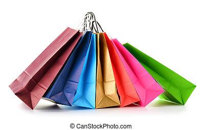 sacs, achats, isolé, papier, fond, blanc