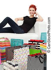 sacs, achats, jeune, femme