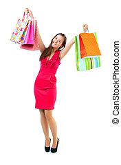 sacs, achats, jeune, isolé, mains, girl, heureux