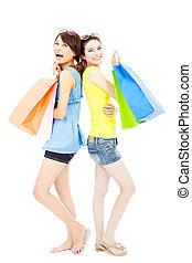 sacs, achats, jeune, sourire heureux, femmes