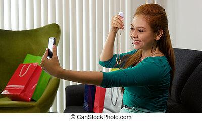 sacs, achats, prendre, téléphone, latina, girl, selfie