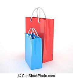 sacs, achats, rendering., isolé, arrière-plan., papier, blanc, 3d