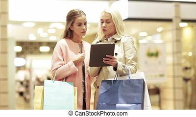 sacs, achats, tablette, jeune, pc, femmes, heureux