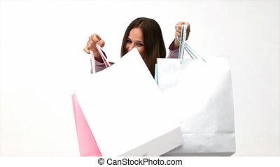 sacs, achats, tenue, femme, heureux
