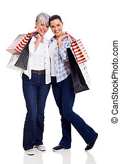 sacs, achats, tenue, mère, fille, personne agee