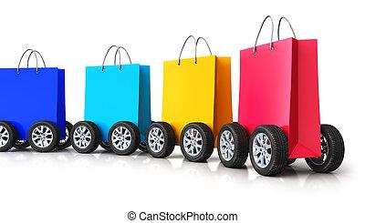 sacs, achats, voiture, train, papier, groupe, roues