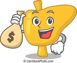 sacs, argent, avoir, riche, conception, fou, foie, mascotte