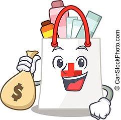 sacs, argent, avoir, sac à provisions, drogue, riche, conception, fou, mascotte