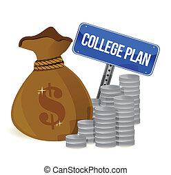 sacs argent, collège, plan, signe