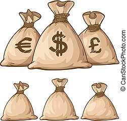 sacs, argent, entiers, dessin animé