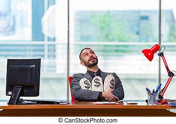 sacs, argent, heureux, bureau, homme affaires