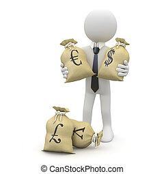 sacs, argent, homme affaires