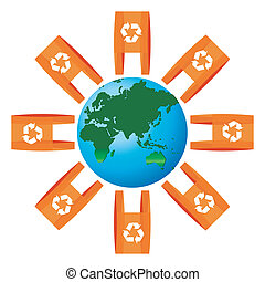 sacs, arrondi, symbole, recyclage, mondiale, icône