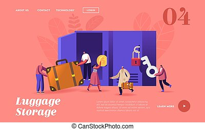 sacs, atterrissage, bagages, bagage, stockage, template., casiers, mettre, usage, caractères, page, ou, gens, aéroport, supermarket., garder