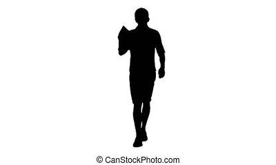 sacs, beau, désinvolte, appareil-photo., homme, faire emplettes vêtements, marche, regarder, silhouette