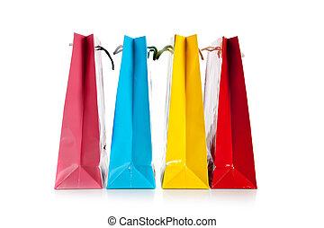 sacs, blanc, achats, coloré, groupe