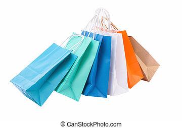 sacs, blanc, papier, achats, fond