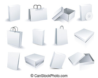 sacs, boîtes, achats