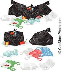 sacs, bouteilles, tas, beaucoup, plastique, déchets ménagers