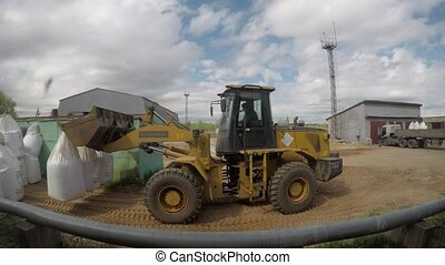 sacs, bulldozer, timelapse, works., machinerie construction,...