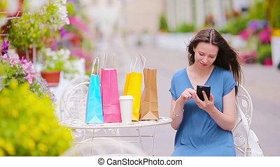 sacs, café, mode, achats, après, air, cafe., girl, ouvert, boire, heureux