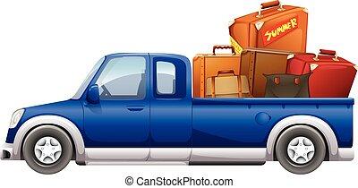 sacs, camion, haut, chargé, cueillir