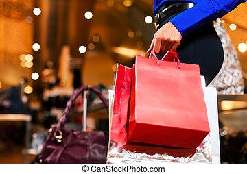 sacs, centre commercial, achats femme