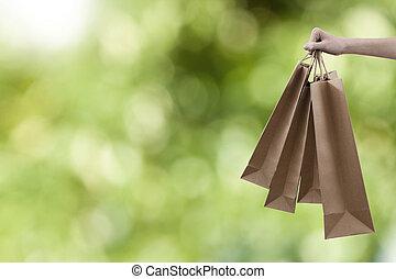 sacs, centre commercial, achats, main