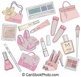 sacs, chaussures, maquillage, elemen, femmes