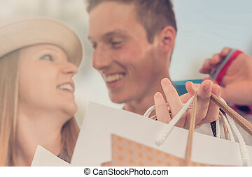 sacs, city., couple, jeune, achats, heureux