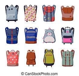 sacs, collection, voyage, écoliers, sacs dos, style, plat, vecteur, devant, étudiants, vue, illustration, ou, randonnée