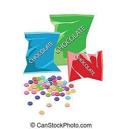 sacs, coloré, bonbons, trois, chocolat, plastique
