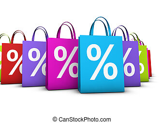 sacs, concept, achats, escompte