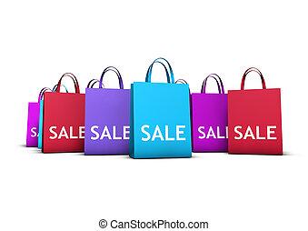 sacs, concept, achats, vente, coloré