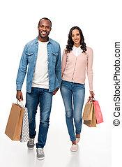 sacs, couple, achats, américain, africaine