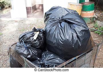 sacs, déchets, préparer, disposition, noir, tas, gaspillage