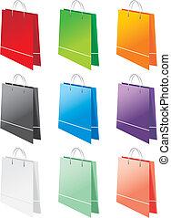 sacs, différent, achats, couleurs