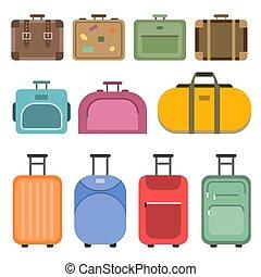 sacs, différent, poignée, plat, images, voyage, style, suitcases.