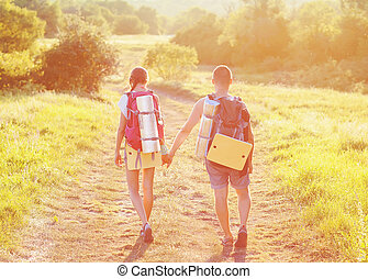 sacs dos, deux, touristes