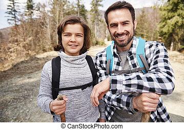 sacs dos, fils, portrait, forêt, sien, papa