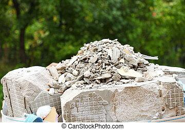 sacs, entiers, décombres, débris, construction, gaspillage