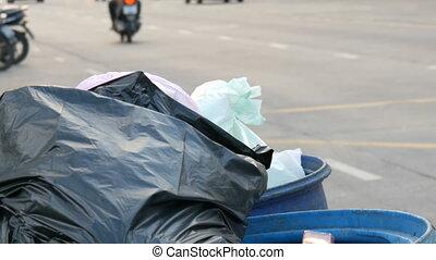 sacs, entiers, motocyclettes, déchets ménagers, occupé, ...