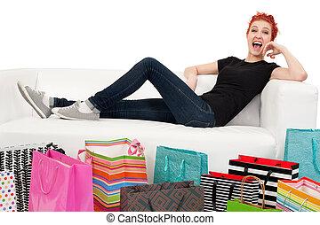 sacs, entouré, acheteur, heureux