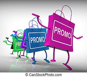 sacs, exposition, promo, vente, escompte, réduction, ou