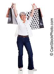 sacs, femme aînée, achats, tenue